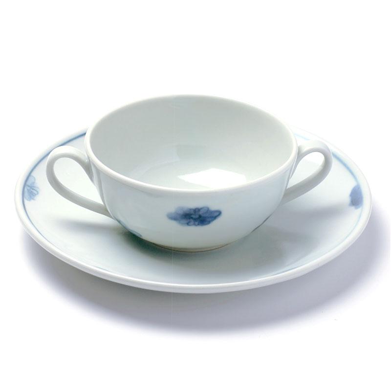 菊花文耳付スープ碗皿・藤塚光男《小鉢・10.0cm》