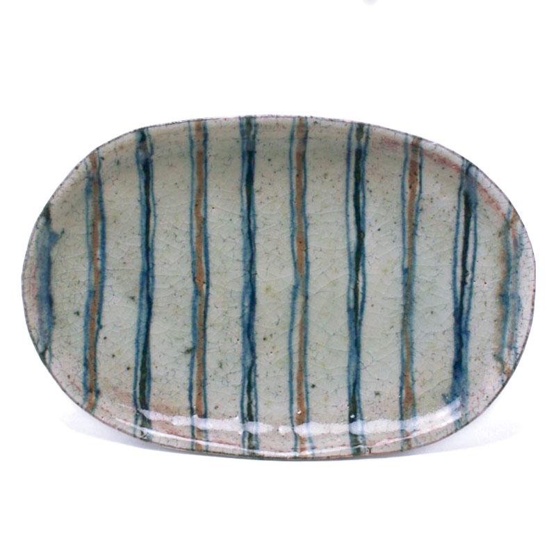 縞楕円皿・C・杉本太郎《中皿・26.0cm》