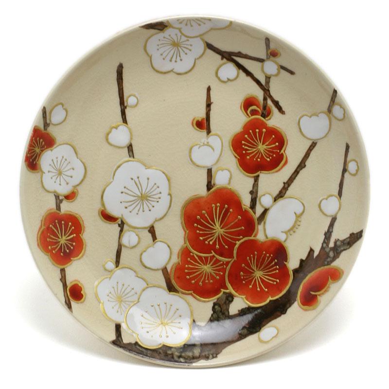 京焼:色絵紅白梅文4寸皿・伏原博之《小皿・13.0cm》