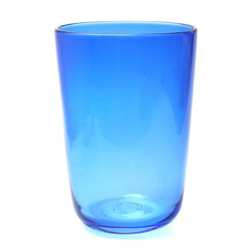 ガラス:ブルー花器・11.5×16.5・植木栄造《花器・花入れ》