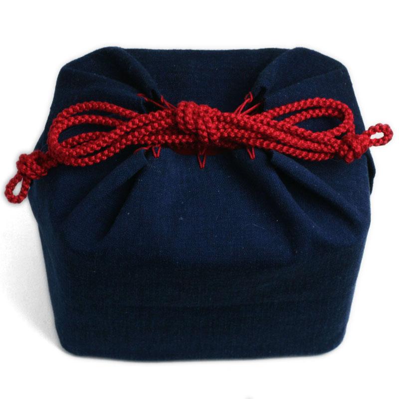 藍木綿弁当袋・一閑張二段弁当箱用・あさの組紐店