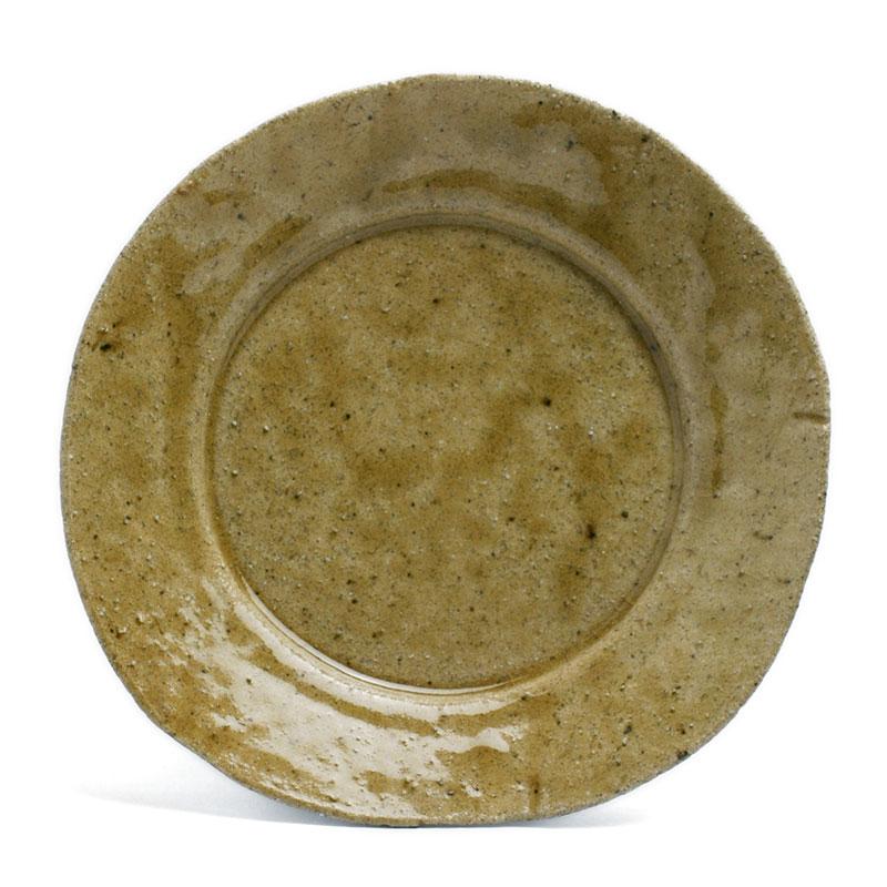 土ものの強さ 優しさ 灰釉5寸 美品 皿 有松進《小皿 15.2cm》 毎日がバーゲンセール
