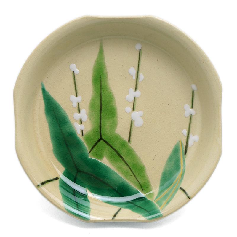 風雅な醤油皿にも 京焼 色絵四方おもだか小皿 低価格化 推奨 伏原博之《豆皿 小皿 10.0cm》