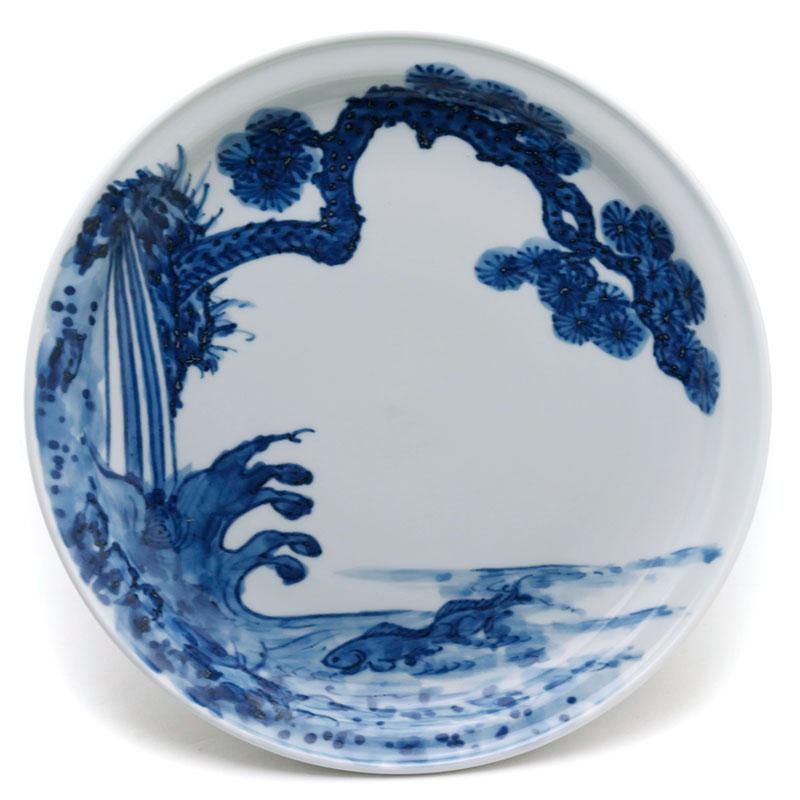 染付:鯉松皿・大・土山敬司《中皿・20.2cm》