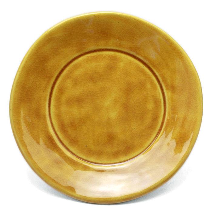 注目ブランド 素朴さが魅力 交趾土器皿 配送員設置送料無料 伏原博之《小皿 15.3cm》