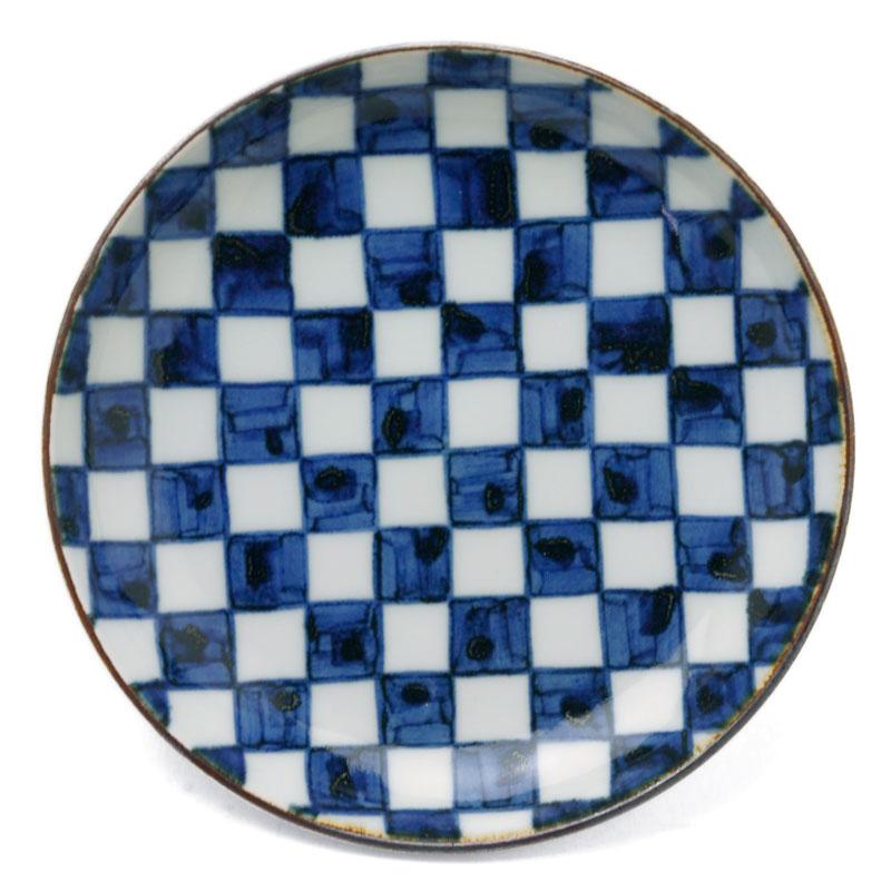 アウトレット お買い得 市松模様はとても日本的でとてもモダン 染付市松文取皿 阪東晃司《小皿 14.7cm》
