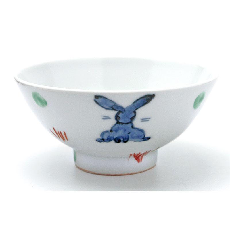 訳あり商品 人気の兎達がお茶碗に 定番から日本未入荷 色絵うさぎ飯碗No.1 古川章蔵《飯碗 11.6cm》 ご飯茶碗