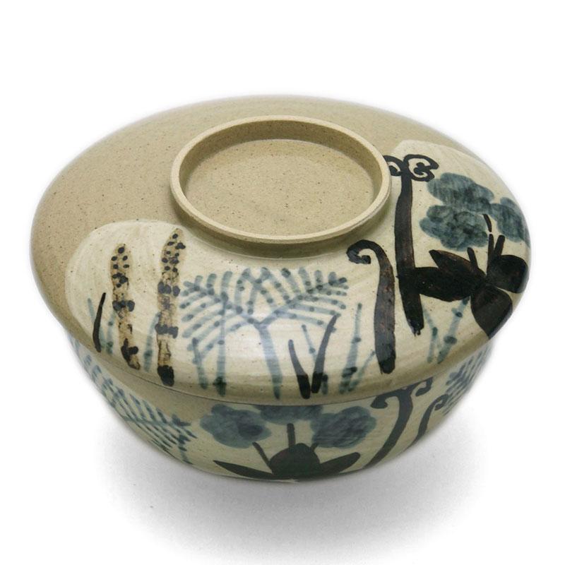 京焼・乾山写春草紋蓋向付・伏原博之《小鉢・蓋物・350ml・13.3cm》