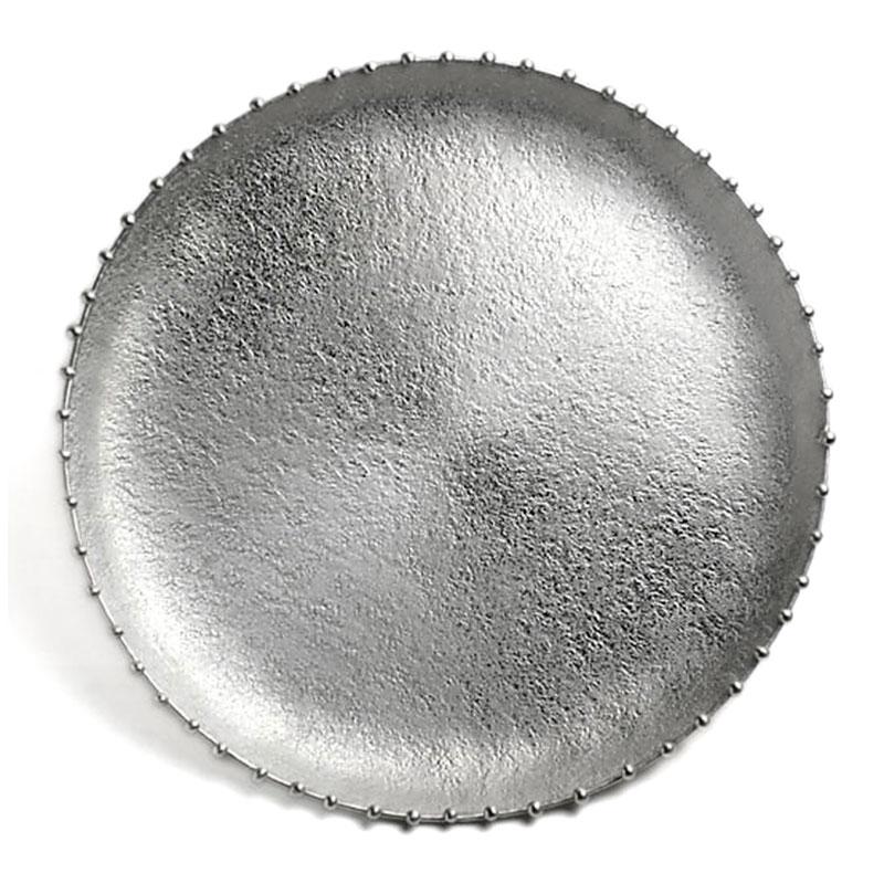 《受注制作》錫器:錫三つ足丸皿・大・星屑・ゆり工房《錫皿・大皿・ボンボンディッシュ・23.8cm》