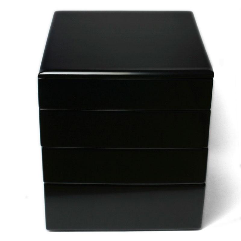漆器:黒内朱段違四段七五重・奥田志郎《4段・漆塗り・重箱》
