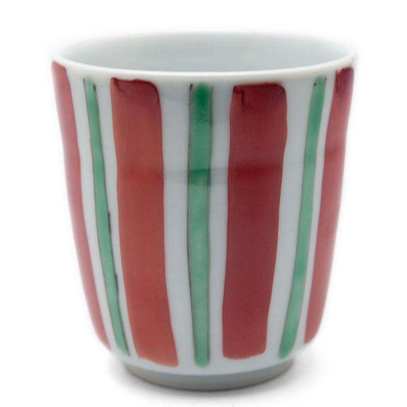 お得 ずっと作っていただいています 色絵筒湯呑 赤 古川章蔵《湯呑》 安心の定価販売 緑線