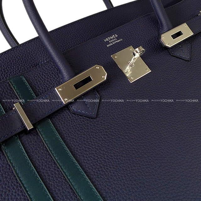 5edf8d8de8ed ... HERMES Hermes handbag Birkin 40 officer (オフィシエ) ブルーニュイ   ヴェールシプレ  (cypress