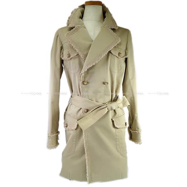【値下げ!】CHANEL シャネル レディース ツイード フリル トレンチコート #36 ベージュ コットン/シルク P38356 新品未使用 (CHANEL Lady's Tweed Frill Trench coat #36 Beige Cotton/Silk[Never Used][Authentic])【あす楽対応】#yochika