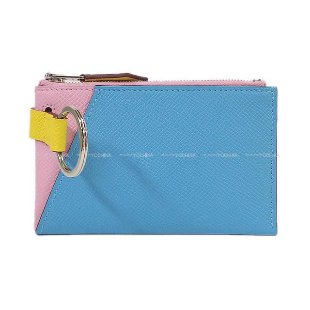 2019年春夏 新作 HERMES エルメス カードケース ヴェルティージュ ミニ カラーブロック モーヴシルベストルXブルーデュノールXライム エプソン 新品 (Card case Vertige Mini Color Block Mauve sylvestre/Bleu du nord/Lime Epsom)