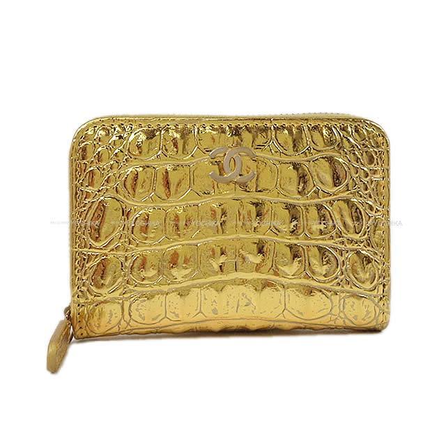 2019年限定 メティエダール シャネル ココマーク カードケース ゴールド 型押しクロコメタリックカーフ A69271 新品 (2019 Limited Metiers d'Art CHANEL COCO Mark Card case Embossed Metallic Calf[Brand new][Authentic])#yochika