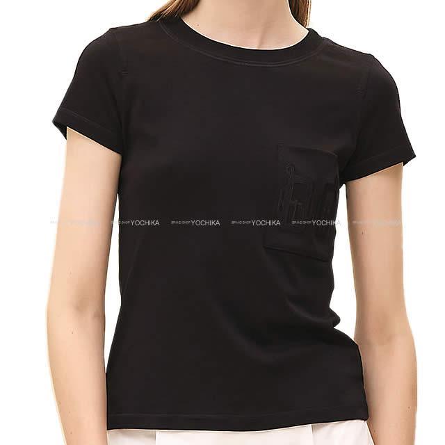 【キャッシュレスポイント還元★】HERMES エルメス レディース Tシャツ カットソー 刺繍ポケット付き
