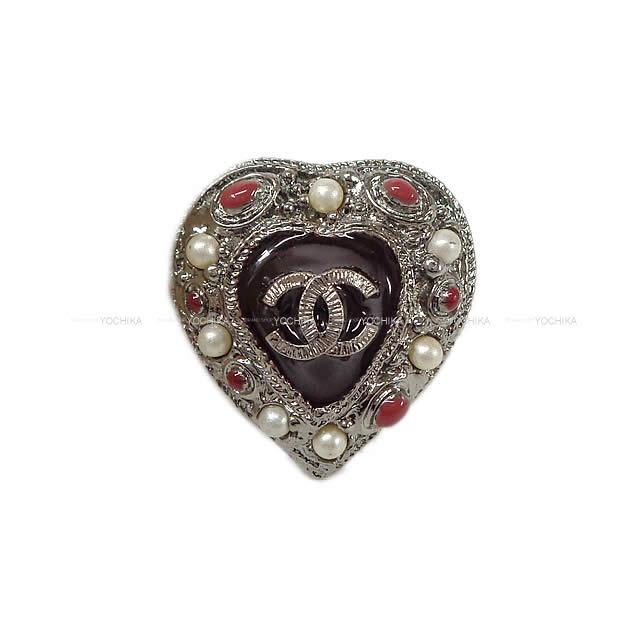 CHANEL ハートモチーフ ココマーク ランダム パール ボリューム リング 指輪 シルバー/レッド #13号 ガンメタルシルバー金具(2011 CHANEL Heart Motif Random Pearl Volume Ring Silver/Red)【あす楽対応】#yochika