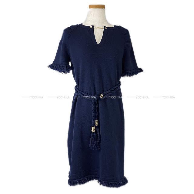 【ご褒美に★】CHANEL シャネル レディース フリンジ ワンピース #36 ネイビー カシミア P58191 新品同様【中古】 ([Pre-loved]CHANEL Lady's fringe Robe Dress #36 Navy[Near mint][Authentic])【あす楽対応】#yochika