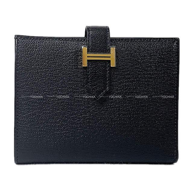 【ご褒美に★】HERMES エルメス 財布 ベアンコンパクト 黒(ブラック) シェーブル ゴールド金具 新品 (HERMES Bearn Compact Wallet Noir(Black) Chevre GHW[Brand new][Authentic])【あす楽対応】#yochika