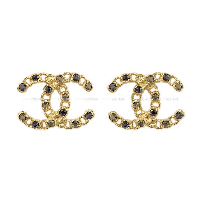 【ご褒美に★】2020年 春夏 新作 CHANEL シャネル チェーン ココマーク ラインストーン ピアス ゴールドXグレー ゴールド金具 AB3398 新品 (2020 SS NEW CHANEL Chain Cocomark Rhinestone Pierce Gold/Grey GHW AB3398[Brand New][Authentic])