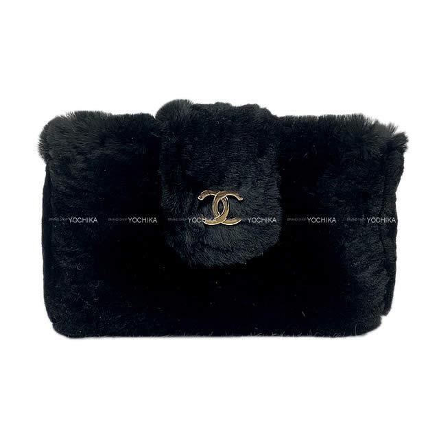 【キャッシュレスポイント還元★】CHANEL シャネル ココマーク マルチコンパクトケース ポーチ 黒 オリラグファー A68781 新品未使用 (CHANEL Coco mark Multi conmpact case Pouch Black Orylag fur A68781[Never used][Authentic])【あす楽対応】#yochika