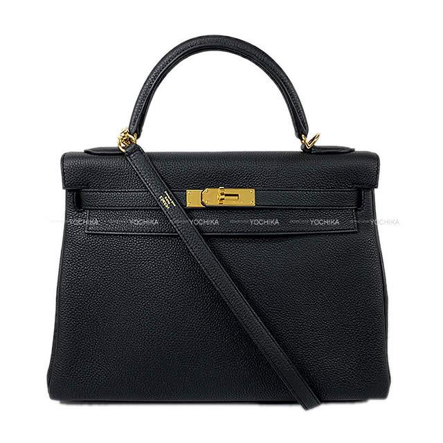 【ご褒美に★】HERMES エルメス ハンドバッグ ケリー32 内縫い 黒 (ブラック) トゴ ゴールド金具 新品同様【中古】 ([Pre-loved]HERMES Handbag Kelly32 Retourne Black (Noir) Togo GHW[Near mint][Authentic])【あす楽対応】#yochika