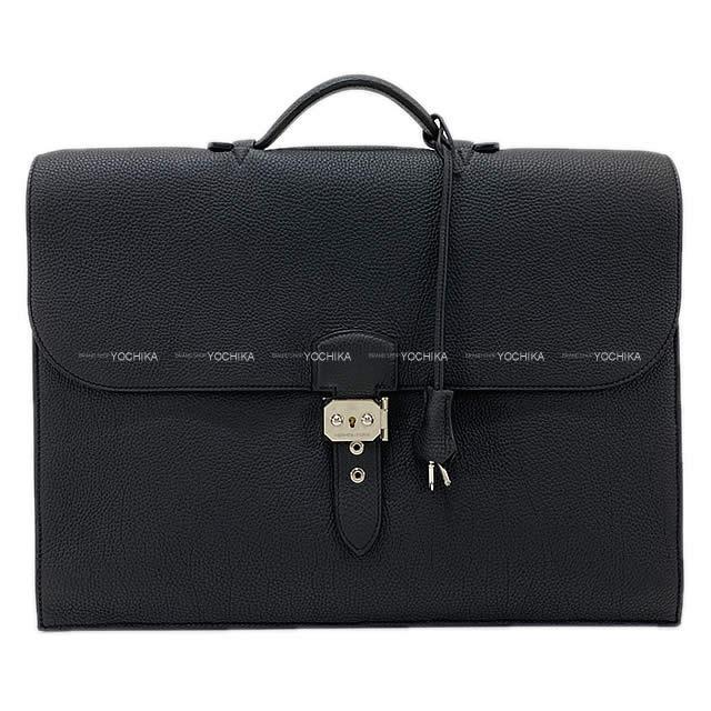 【ご褒美に★】HERMES エルメス ブリーフケース サックアデペッシュ 41 黒(ブラック) トゴ シルバー金具 新品未使用 (HERMES Briefcase