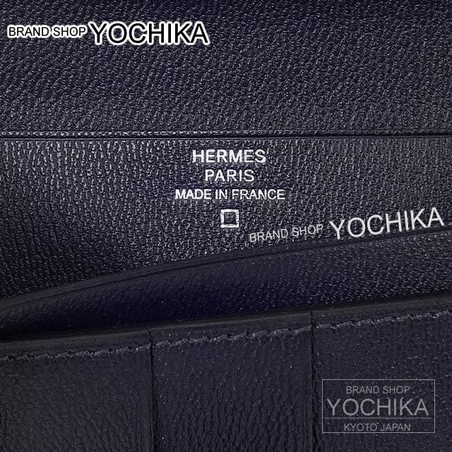HERMES Hermes long wallet beans fre marine crocodile alligator shiny new (Gusset Wallet BEARN SOUFFLET Bleu Marine Crocodile Aligator Shining [Brand new], [Authentic]) #yochika