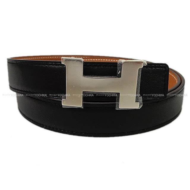 HERMES エルメス コンスタンス 24 リバーシブル ミニ Hベルト #90 黒Xゴールド スイフトXエプソン シルバー金具 新品 (HERMES Mini-Constance 24 Reversible H-Belt #90 Black/Gold Swift/Epsom Silver Hardware[Brand new][Authentic])#よちか