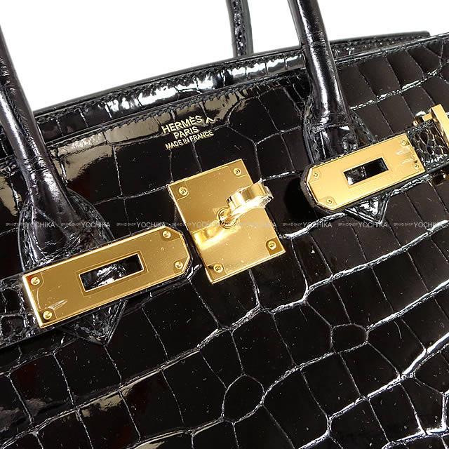 22ce6caa1e5a HERMES Hermes Birkin 30 black (black) クロコダイルポロサスゴールド metal fittings new  article (HERMES handbags Birkin 30 Black(Noir) crocodile Porosus ...
