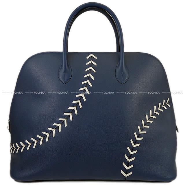 2018年 春夏限定 HERMES エルメス ハンドバッグ ボリード 1923 ベースボール 45 ボリード45 ブルーマルテ×白(ホワイト) エヴァーカラー シルバー金具 新品 (2018 Limited HERMES Handbags Bolide Baseball 45 BLEU DE MALTE)#よちか