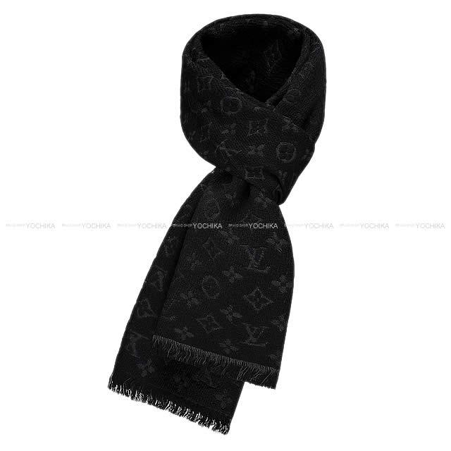 LOUIS VUITTON Louis Vuitton scarf echarp モノグラムクラシックノワールウール 100% M70520 new  article ac94553cf06