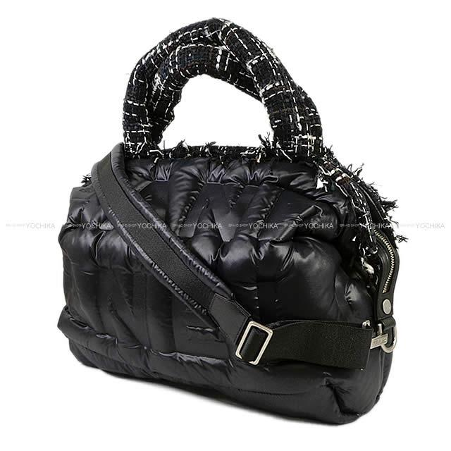 a54e28fb44d7 2018 CHANEL シャネルドゥドーヌココネージュ 2way bowling bag black nylon / tweed A91937 new  mint condition in the fall and winter