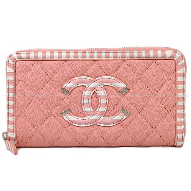 2019年 クルーズライン シャネル フィリグリー マトラッセ ビッグココマーク ボーダー フレーム ラウンドファスナー 長財布 ベビーピンクX白 A84449 新品 (CHANEL Filigree Matrasse Big CC Mark Border Frame Round Zipper Long Purse Baby Pink/White)
