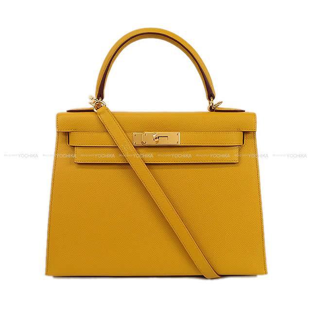 HERMES エルメス ハンドバッグ ケリー28 外縫い ジョーヌアンブル エプソン ゴールド金具 新品 (HERMES Handbag Kelly 28 Sellier Jaune Ambre Epsom GHW[Brand new][Authentic])【あす楽対応】#よちか