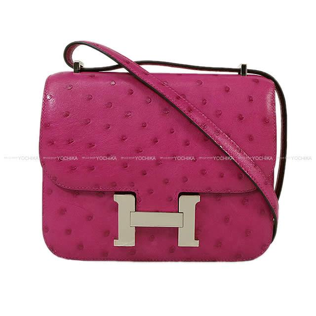 cdff6cead8 As well as HERMES Hermes shoulder bag Constance 3 mini-18 Rose purple  ostrich silver metal fittings new article  used