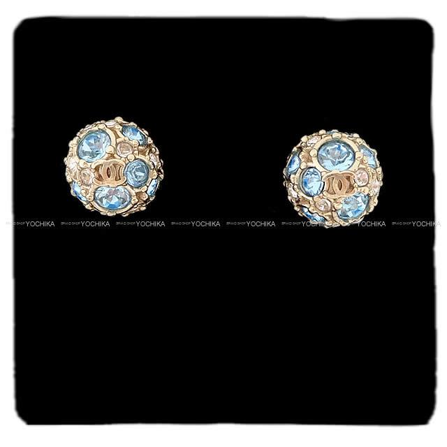 5a9c98d5cd947f CHANEL Chanel here Mark Miller ball pierced earrings blue (blue) X gold  AB0619 new article in the summer latest the spring of 2019