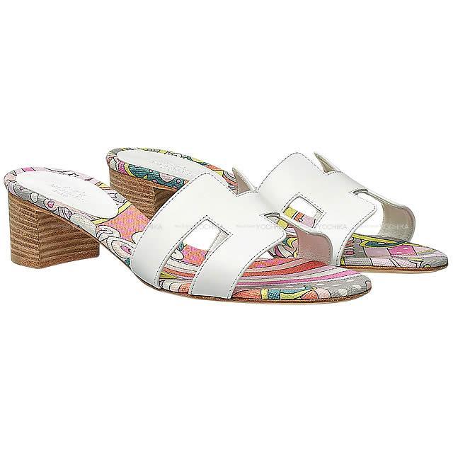 HERMES エルメス レディース Hモチーフ サンダル オアジス フォーブル レインボー #37 白(ホワイト) カーフXコットンキャンバス 新品 (HERMES Lady's H-motif Sandal OASIS Fable Rainbow #37 White Calf/Cotton canvas)