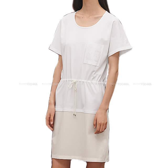 2019年春夏 新作 HERMES エルメス Tシャツ ワンピース ポケット付 刺繍 #38 白(ホワイト) コットン100% 新品 (2019 S/S NEW HERMES Embroidered pocket One-Piece T-shirt #38 Blanc(White) Cotton100%[Brand New][Authentic])【あす楽対応】#よちか