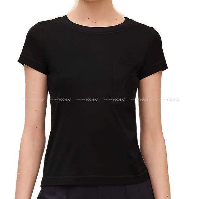 2019年春夏 新作 HERMES エルメス レディース Tシャツ ポケット付 刺繍 #36 黒 (ブラック) コットン100% 新品 (2019 S/S NEW HERMES Lady's Embroidered pocket T-shirt #36 Black (Noir) Cotton100%[Brand New][Authentic])【あす楽対応】#よちか