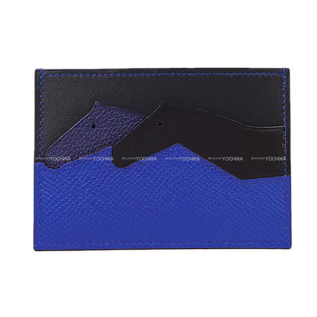 2019年春夏 新作 HERMES エルメス カードケース プティ・シュヴォー オリゾンタル ブルーロイヤルXブルーインディゴXブルーアンクル(ブルーインク)Xブルーオブスキュール エプソンXエバーカラーXソンブレロ 新品 (Card case Petits Chevaux Blue)