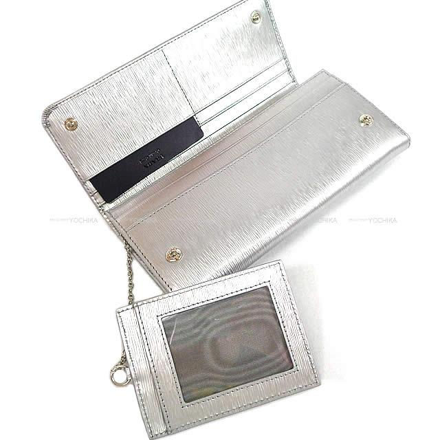 5e901fd9 Flap long wallet クロームシルバーヴィッテロレザー 1MH132 new article with PRADA Prada pass  case-free (PRADA Pass holder Long Wallet Chromium silver Vittero move ...