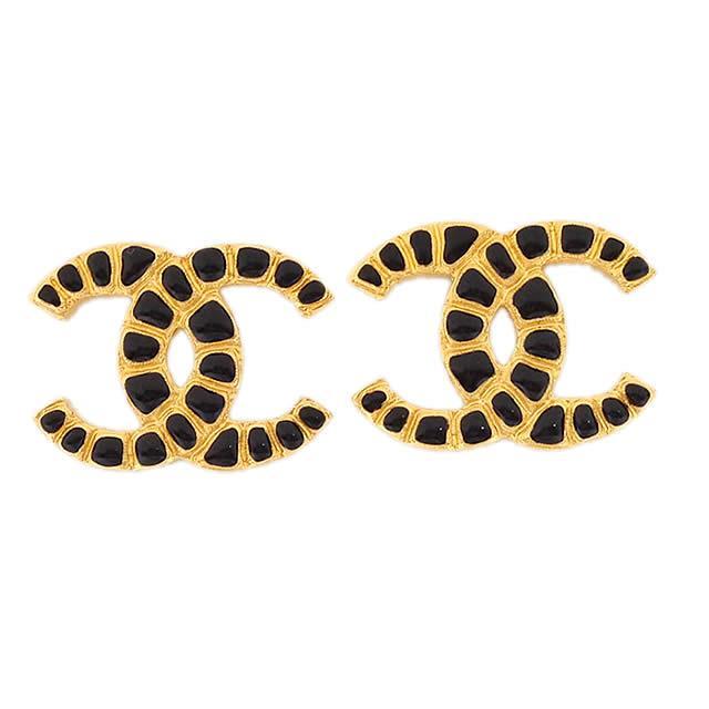 【キャッシュレスポイント還元★】2019年 新作 CHANEL メティエダール パリ-NY/エジプト シャネル ビッグココマーク エンボス ピアス ゴールドX黒(ブラック) ゴールド金具 AB1474 新品