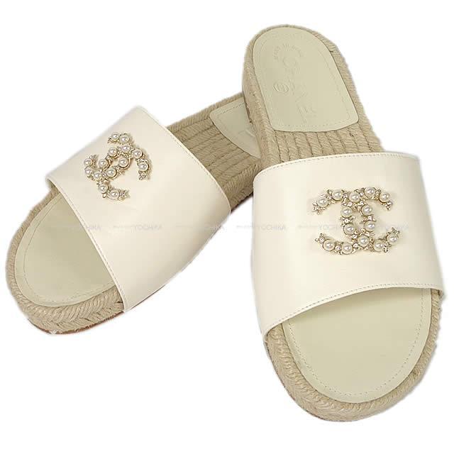 【キャッシュレスポイント還元★】CHANEL シャネル レディース ココマーク パールビジュー サンダル スリッパ ナチュラルアイボリー #37C 新品 (CHANEL Ladies Espadrilles COCO Mark Pearl Bijoux Sandal Slippers Natural Ivory #37C )【あす楽対応】#よちか