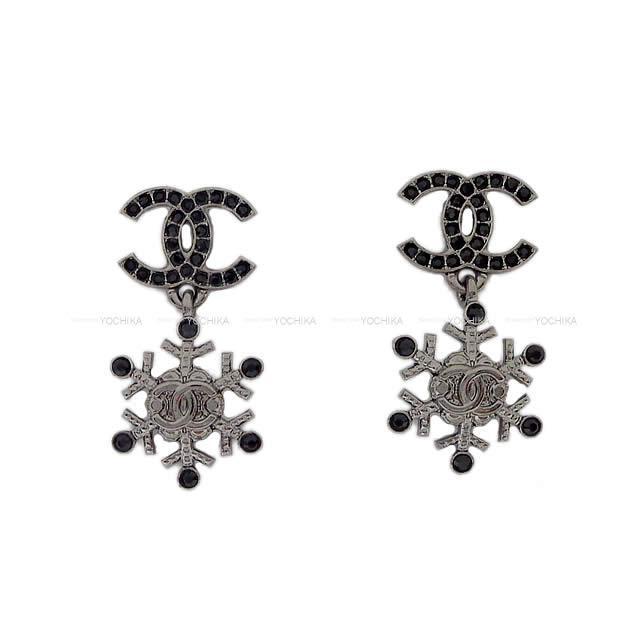【 キャッシュレスポイント還元★】2019年 秋冬 新作 CHANEL シャネル スノークリスタル ココマーク ぶらさがり ピアス メタルシルバー金具 AB2528 新品 (2019 AW NEW CHANEL Cocomark Snow Crystal Pierces)【あす楽対応】#よちか