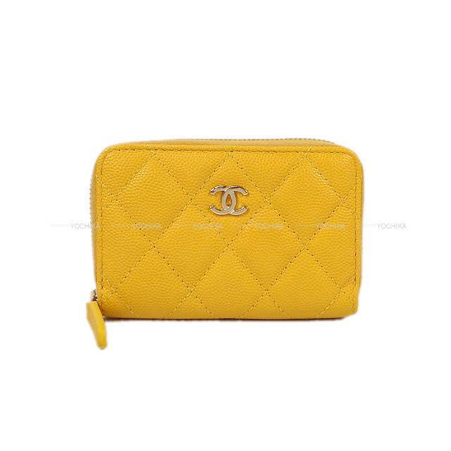 CHANEL シャネル マトラッセ コイン カードケース イエロー キャビアスキン A84511 新品未使用 (CHANEL Matelasse Coin Card case Yellow Caviar skin A84511 GHW[Never used][Authentic])【あす楽対応】#よちか