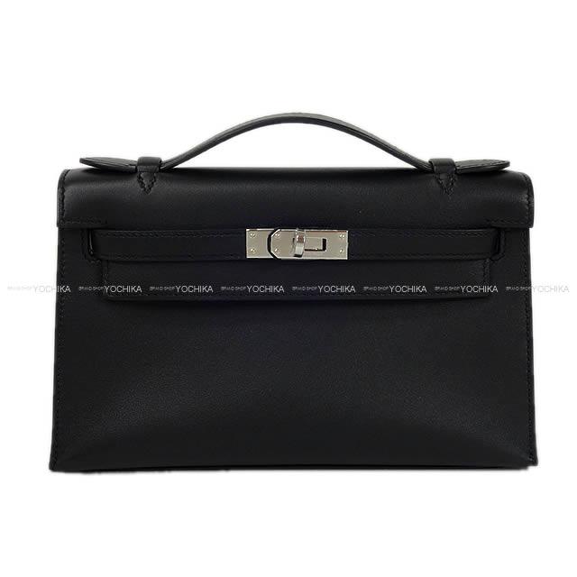 6ab73e2b538c HERMES Hermes handbag pochette Kelly black (black) swift silver metal  fittings new article (HERMES Kelly Pochette Bag Noir Black Swift SHW)  よちか