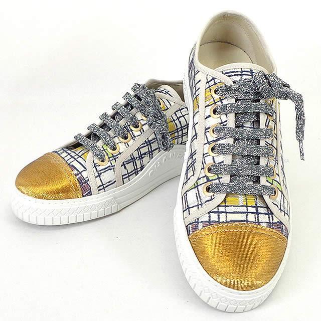 【 キャッシュレスポイント還元★】CHANEL シャネル レディース ツイード ラメ メタリック スニーカー 白(ホワイト)XゴールドXマルチカラー キャンバス #39 G32383 新品 (Ladies Tweed Fibre Yarn Metallic Sneaker White/Gold/Muti-color)