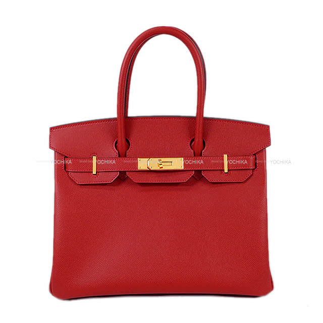 HERMES エルメス バーキン30 ハンドバッグ ルージュカザック エプソン ゴールド金具 新品同様【中古】 ([Pre-loved]HERMES handbags Birkin 30 Rouge casaque Epsom GHW[Near Mint][Authentic])【あす楽対応】#よちか