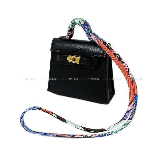 【夏のボーナスで☆】HERMES エルメス ミニミニ バッグチャーム ケリー トゥイリー(ツイリー) 黒(ブラック) タデラクト ゴールド金具 新品 (HERMES MiniMini bag charm Kelly Twilly Black Veau Tadelakt GHW[Brand new][Authentic])#よちか